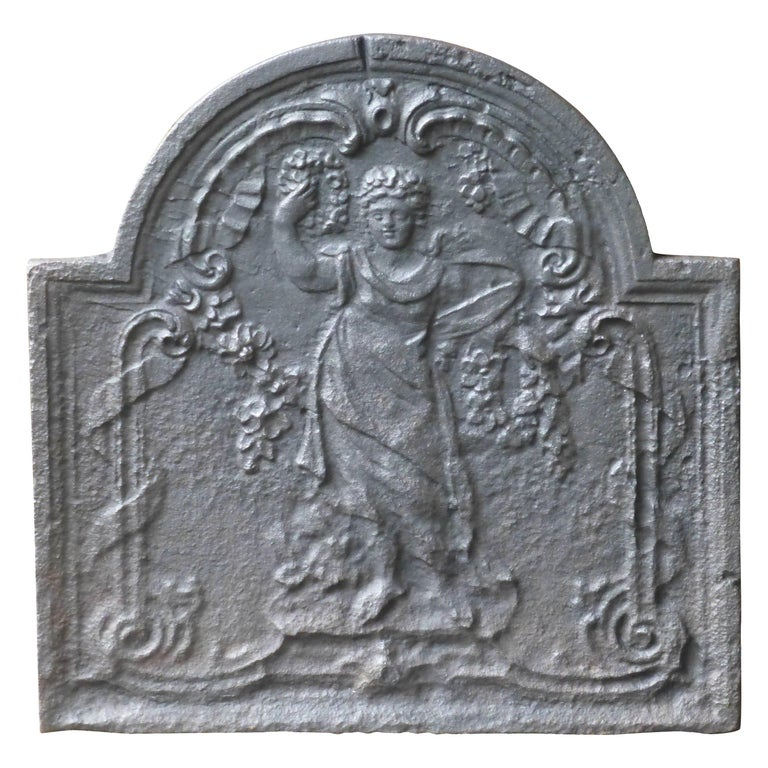 Antique French Fireback with Goddess Flora