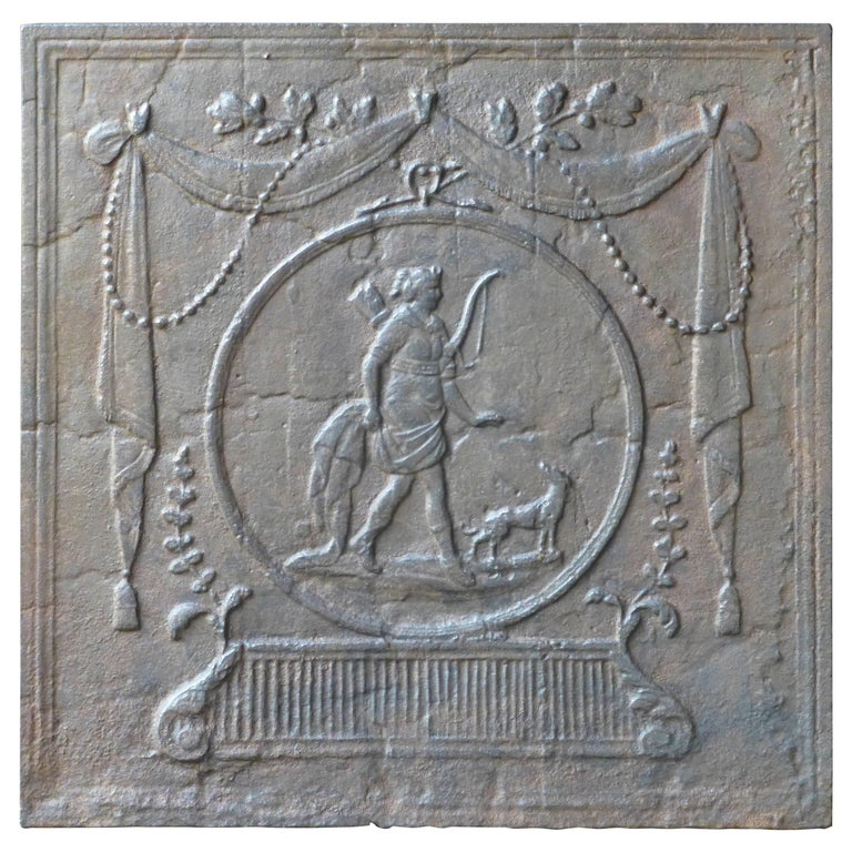 Antique French Fireback with Diana, Goddess of Hunting