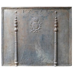 Large 'Pillars with Arms of France' Fireback, Dated 1778