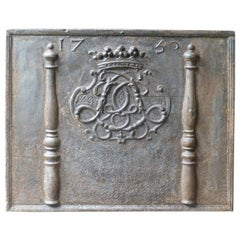 Magnificent French Fireback with Monogram, Dated 1730