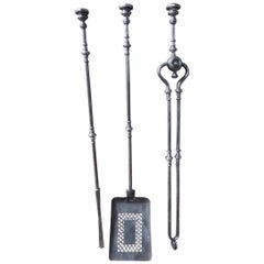 English Polished Steel Fire Tools or Fireplace Tool Set, 19th Century