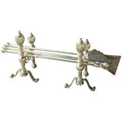 English Polished Brass Fireplace Tool Set, Companion Set