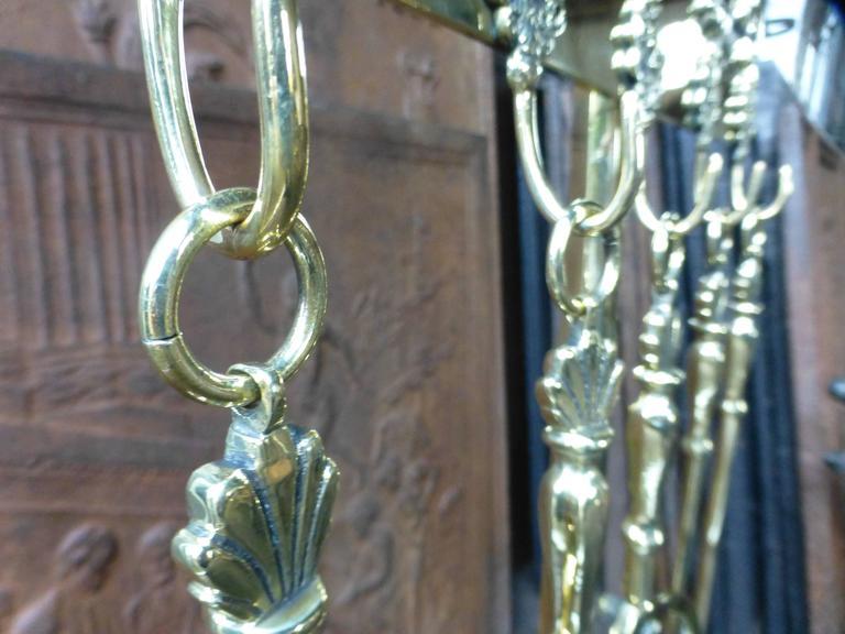 magnificent dutch polished brass fireplace tool set at 1stdibs. Black Bedroom Furniture Sets. Home Design Ideas