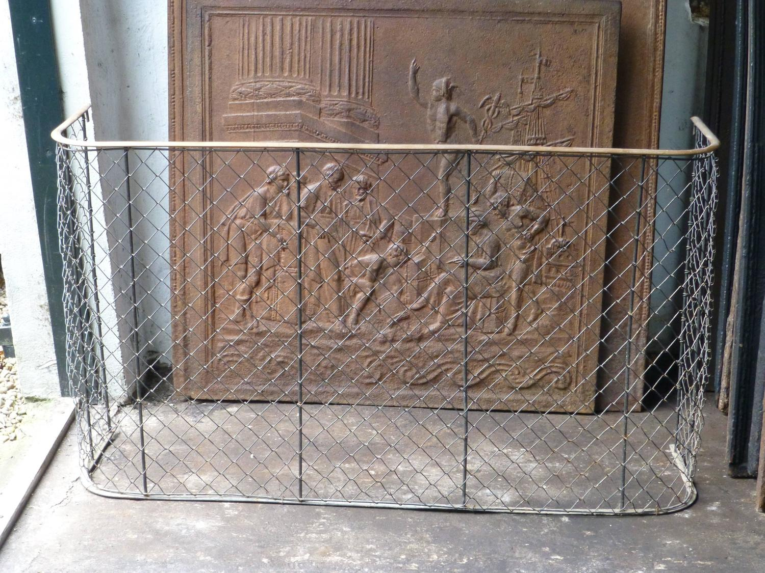 19th Century Brass And Iron Fireplace Guard Fire Guard At