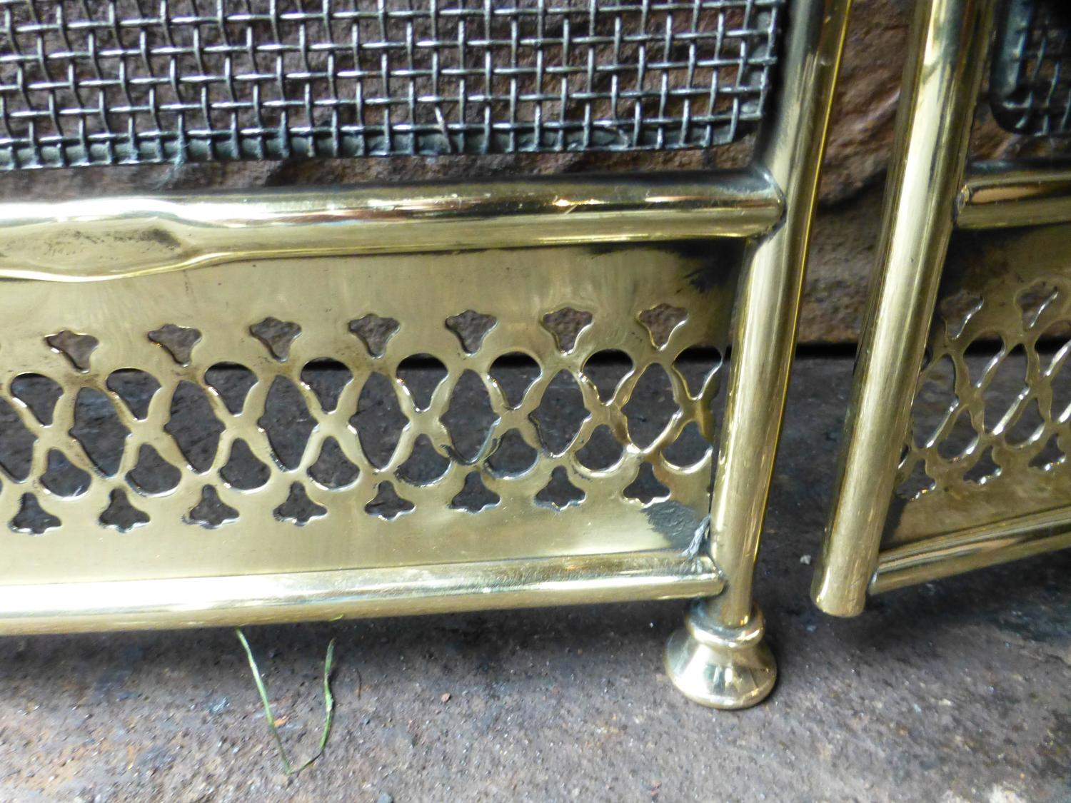 polished brass and wirework fireplace screen or fire screen at 1stdibs