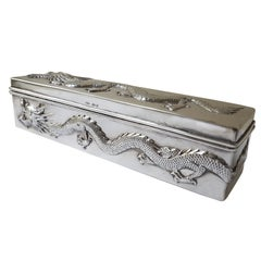 Antique Chinese Export Sterling Silver Dragon Box, 1912