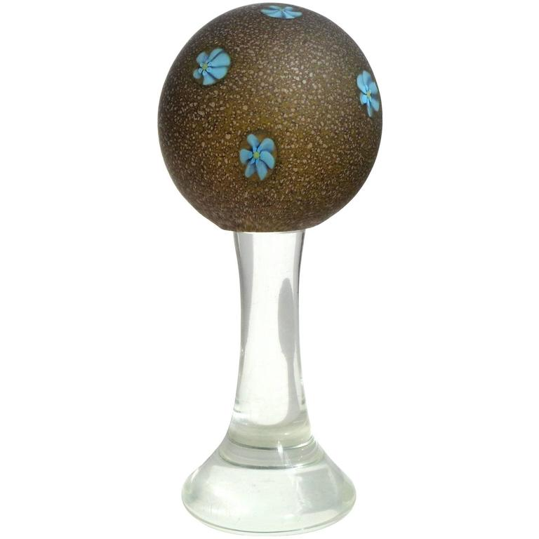 Fratelli Toso Murano Blue Millefiori Satin Glass Italian Art Glass Paperweight