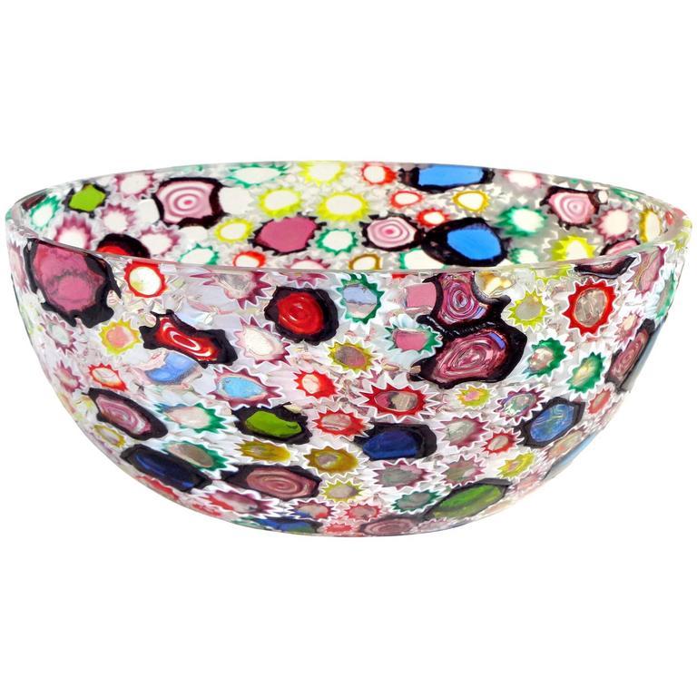 Fratelli Toso Murano Millefiori Flower Star Mosaic Italian Art Glass Bowl For Sale