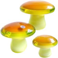 Murano Orange Yellow Uranium Italian Art Glass Mushroom Toadstool Paperweights