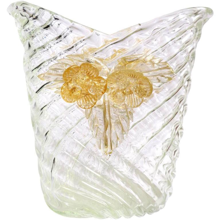 Seguso Vetri d'Arte Murano Quilted Clear and Gold Italian Art Glass Flower Vase