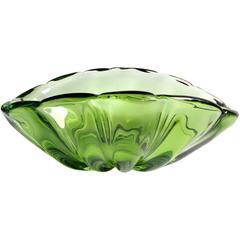 Alfredo Barbini Murano Emerald Green Italian Art Glass Centerpiece Bowl