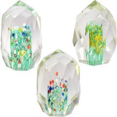 Toso Murano Millefiori Wild Flower Italian Art Glass Diamond Facet Paperweights