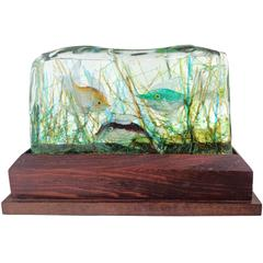 Cenedese Murano Three Fish Italian Art Glass Aquarium Block on Lighted Base