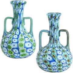 Fratelli Toso Murano Millefiori Flower Mosaic Italian Art Glass Vases