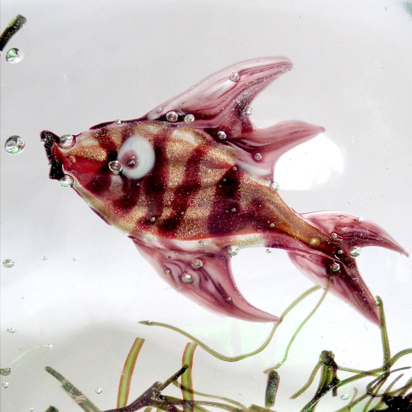 Murano Copper Aventurine Fish Italian Art Glass Aquarium Paperweight ...
