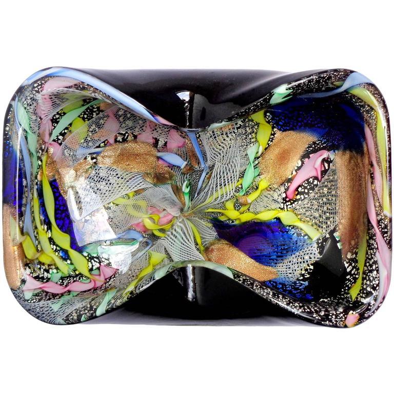 A.Ve.M. Murano Black Silver Fleck Zanfirico Ribbons Italian Art Glass Bowl For Sale