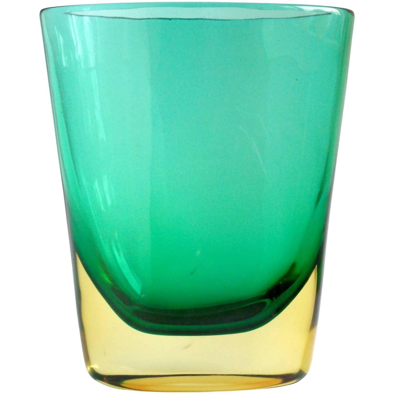 Italian murano glass organic modern sommerso four layer vase at flavio poli murano sommerso yellow green italian art glass vintage flower vase reviewsmspy