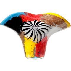 Dino Martens Murano Multicolor Oriente Italian Art Glass Fan Shape Vase
