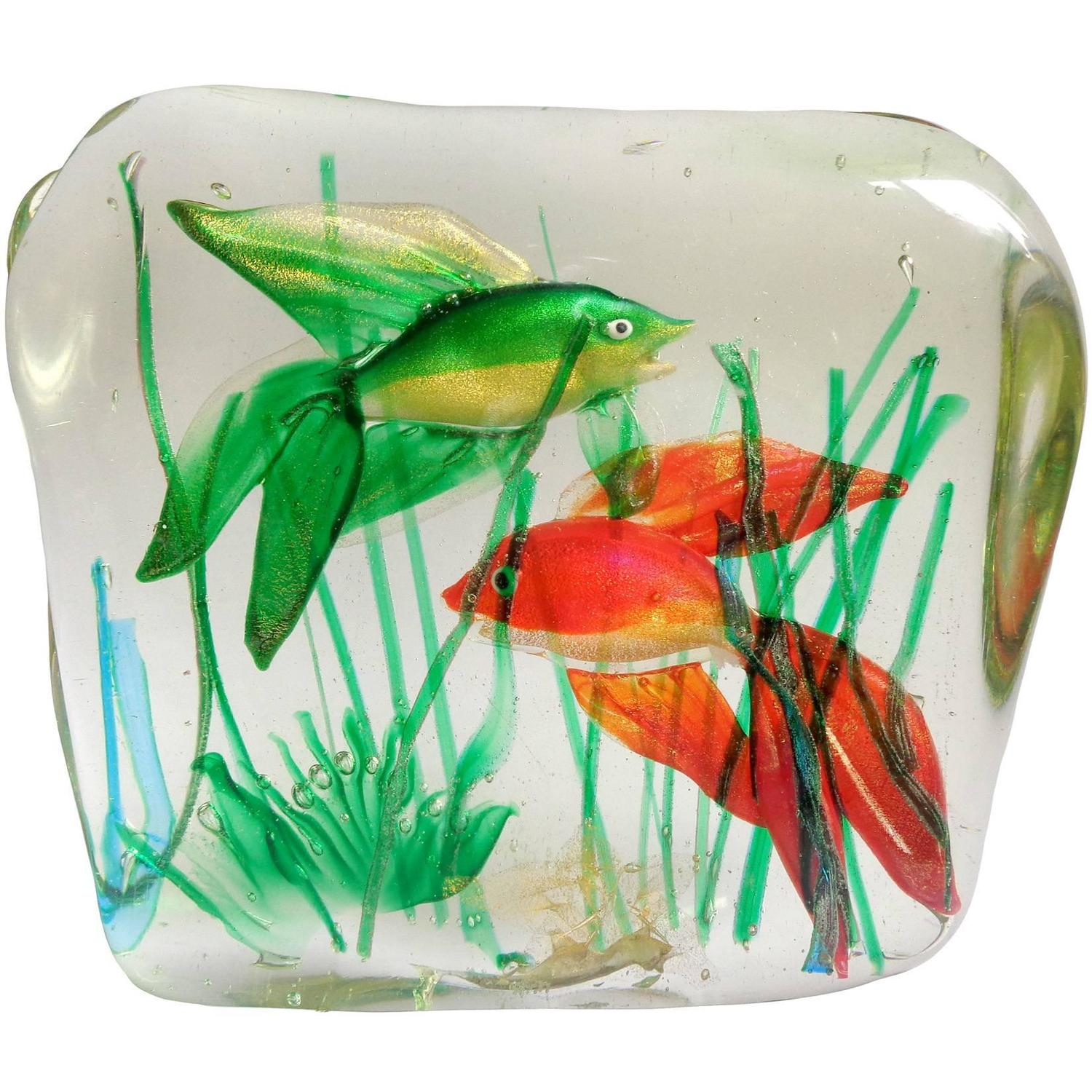 murano fancy red and green gold fish italian art glass. Black Bedroom Furniture Sets. Home Design Ideas
