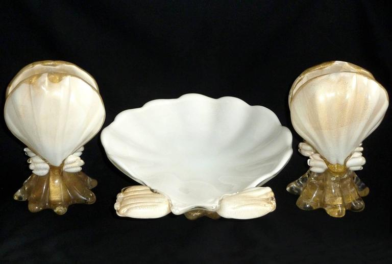 Hand-Crafted Murano White Gold Flecks Italian Art Glass Seashell Candlesticks and Bowl Set For Sale