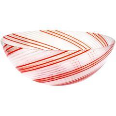 Dino Martens Aureliano Toso Murano Red Orange Italian Art Glass Bowl