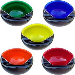 Murano Black over Rainbow Colors Italian Art Glass Decorative Bowls Nut Dishes
