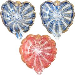 Barovier Toso Murano Pink Blue Gold Striped Italian Art Glass Heart Dish Bowls