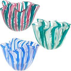 Bianconi Venini Murano Filigrana Stripes Italian Art Glass Fazzoletto Vases