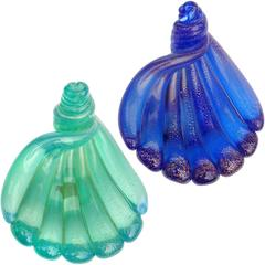 Archimede Seguso Murano Blue Green Gold Flecks Italian Art Glass Shell Dishes