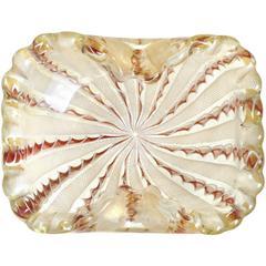 Fratelli Toso Murano White Aventurine Ribbons Gold Italian Art Glass Bowl