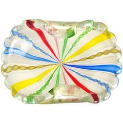 Fratelli Toso Murano Rainbow Ribbons Gold Flecks Italian Art Glass Bowl