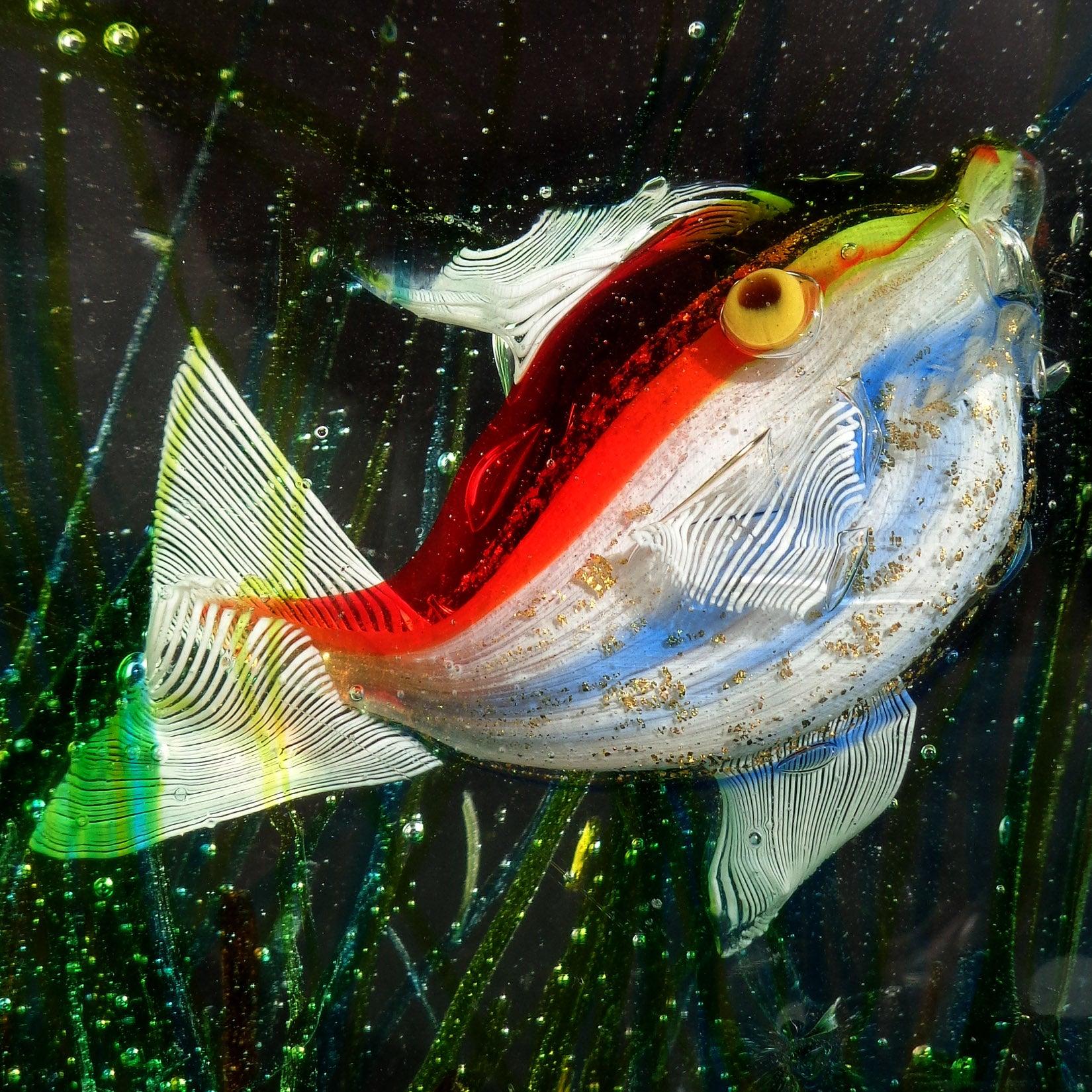 Cenedese Murano Yellow Red Gold Fish Italian Art Glass Aquarium ...