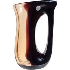 Murano Dark Purple and Light Amber Italian Art Glass Pitcher Vase