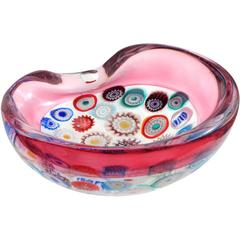 Archimede Seguso Murano Millefiori Canes Italian Art Glass Incalmo Ashtray