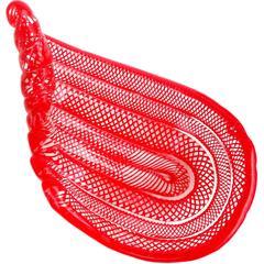Murano Bright Red Net Ribbons Italian Art Glass Bowl Dish