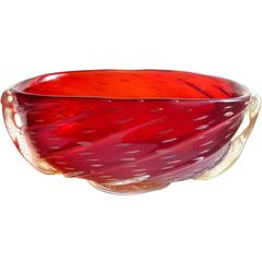Barovier Toso Murano Red Orange Amberina Gold Italian Art Glass Bowl