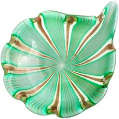 Murano Green Aventurine Gold Flecks Italian Art Glass Decorative Bowl