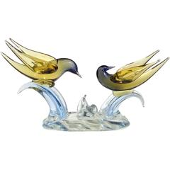 Murano Sommerso Yellow to Blue Italian Art Glass Courting Birds Sculpture