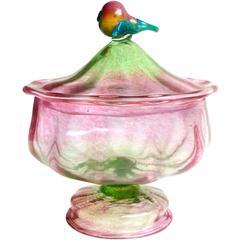 Antique Salviati Venetian Green Pink Gold Flecks Italian Art Glass Pear Top Jar