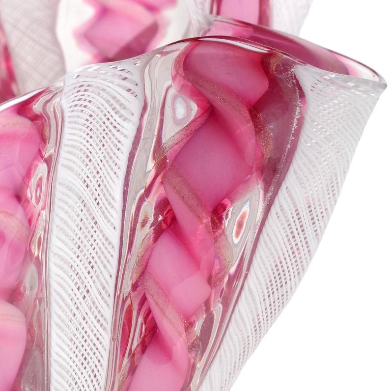 Gorgeous Murano hand blown pink, white, and aventurine ribbons Italian art glass handkerchief / fazzoletto vase. Documented to the Fratelli Toso company. Made with pink white zanfirico and pink with twisting copper aventurine ribbons. Measures 8