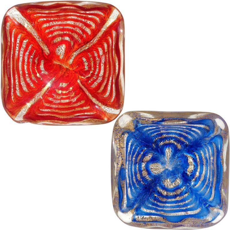 Ercole Barovier Toso Murano Gold Flecks Red Blue Italian Art Glass Bowls