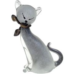 Alfredo Barbini Murano Gray Gold Flecks Italian Art Glass Kitty Cat Figure