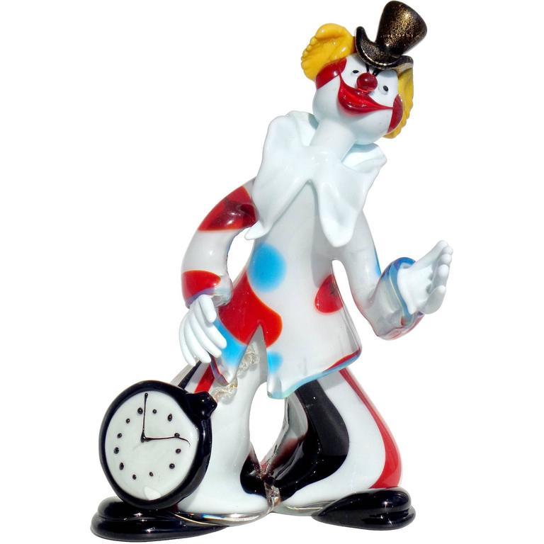 Murano Dandy Clown with Pocket Watch, Top Hat, Italian Art Glass Sculpture