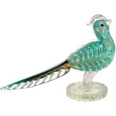 Ercole Barovier Murano Green Gold Flecks Italian Art Glass Bird Sculpture