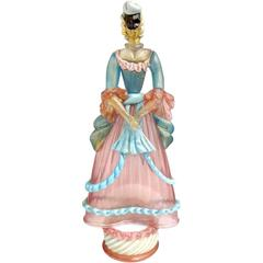 Murano Pink Blue Gold Flecks Masked Italian Art Glass Woman Sculpture