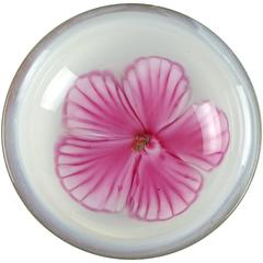 Murano Opalescent Pink Hibiscus Italian Art Glass Centerpiece Bowl