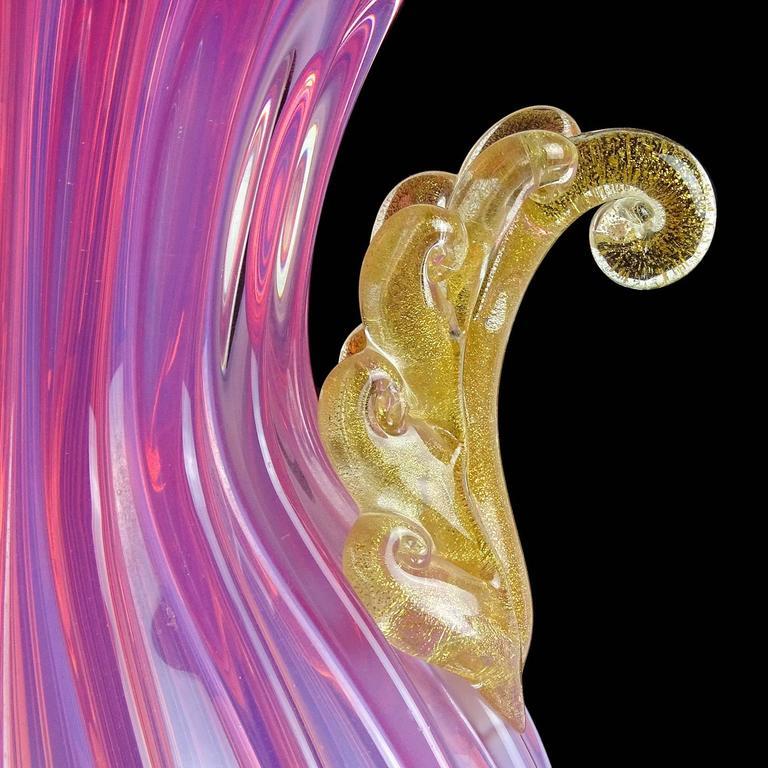 Mid-Century Modern Monumental Archimede Seguso Opal Pink Gold Flecks Italian Art Glass Vase For Sale