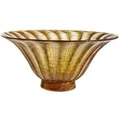 Barovier Toso Murano Copper Aventurine Italian Art Glass Centerpiece Fruit Bowl