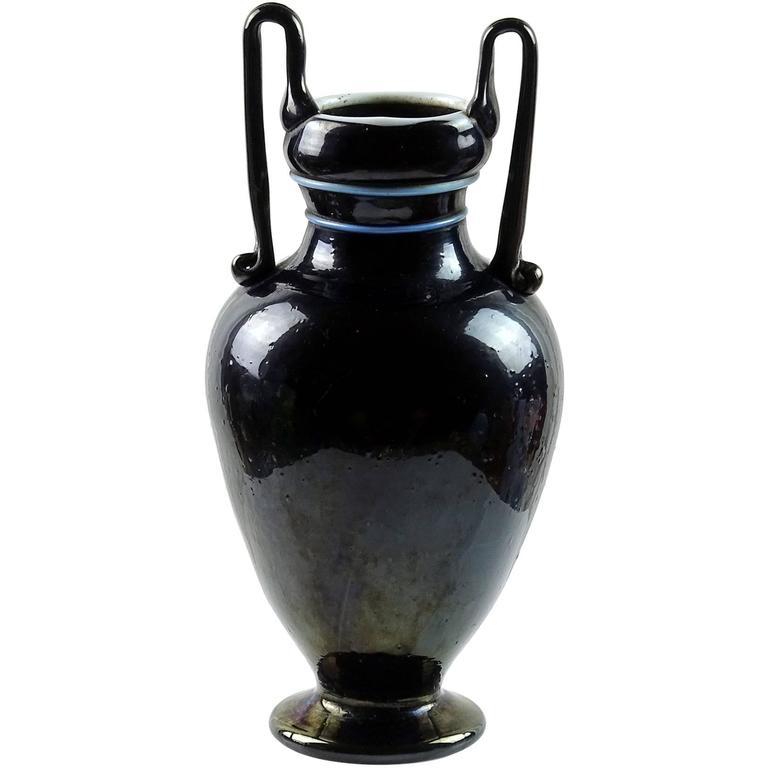 Antique Murano Metallic Black Iridescent Italian Art Glass Double Handle Vase