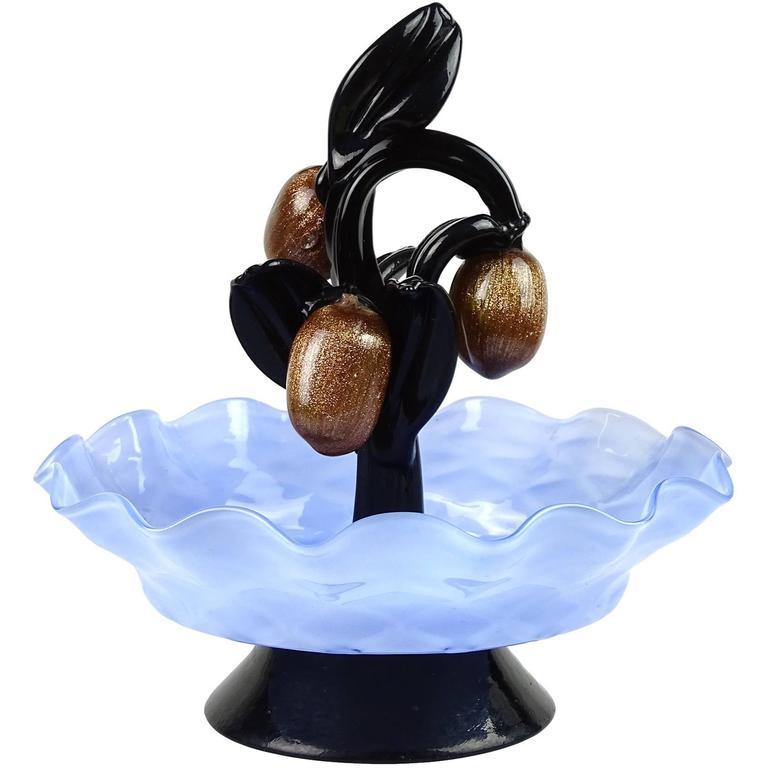 Murano Blue and Black and Aventurine Fruits Italian Art Glass Figure Sculpture